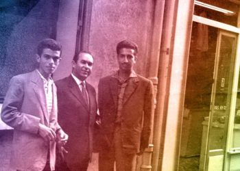 Mehdi Ben Barka à Paris avec Fathallah Oualalou (g.) et Abdellatif Jebrou (dr.).