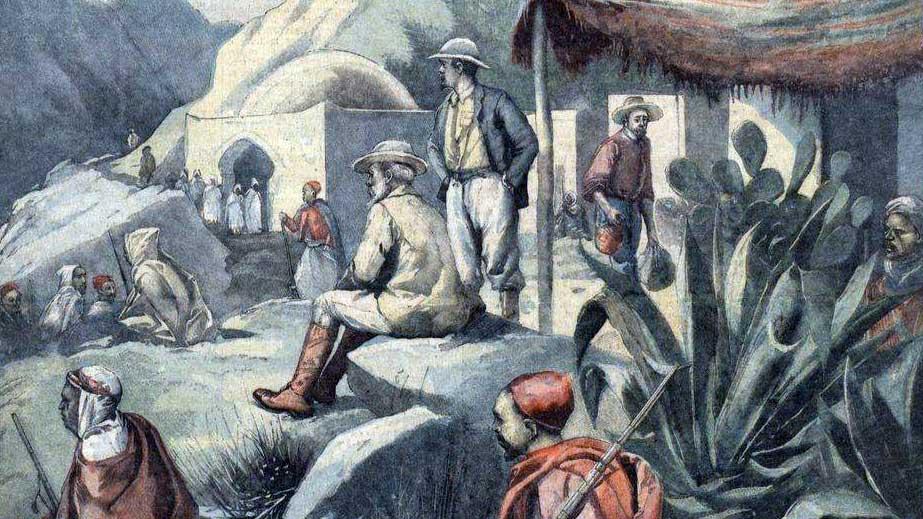 Perdicaris et Varley prisonniers d'Raïssouni, chef de brigands Marocains.