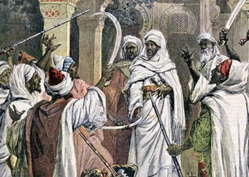 Tribal chiefs swearing loyalty to the Sultan of Morocco.  Moulay Hassan (1836-1894) Sultan as Hassan I 1873-1894. From 'Le Petit Journal', Paris 17 August 1892. Africa World History Archive