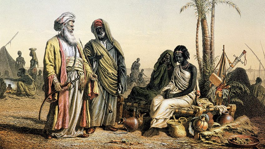 Slave market near Kenneh, Egypt, engraving from 1857 Scenes of a Voyage in the Orient by Louis Libay   Photo Credit: [ The Art Archive / Geographical Society Paris / Gianni Dagli Orti ]